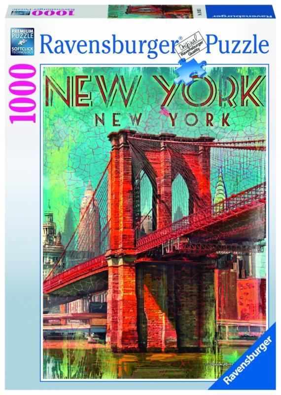 Ravensburger puzzle Retro New York; 1000 dílků