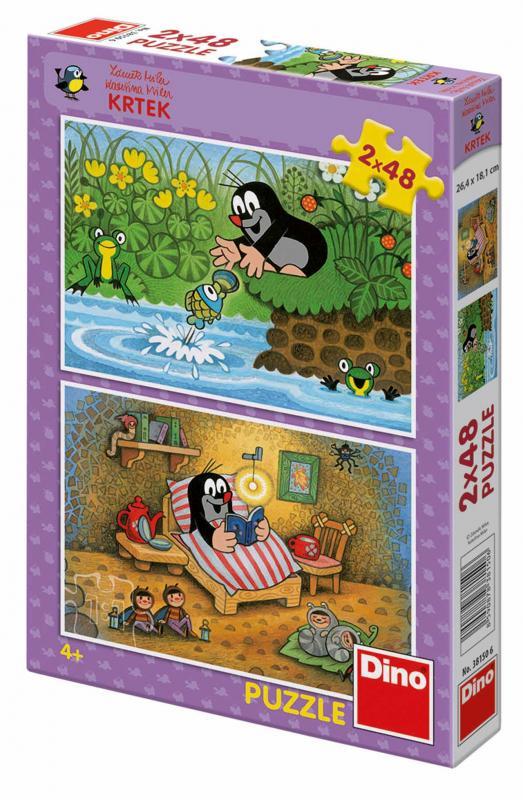 Dino puzzle Krtek a perla 2x48 dílků