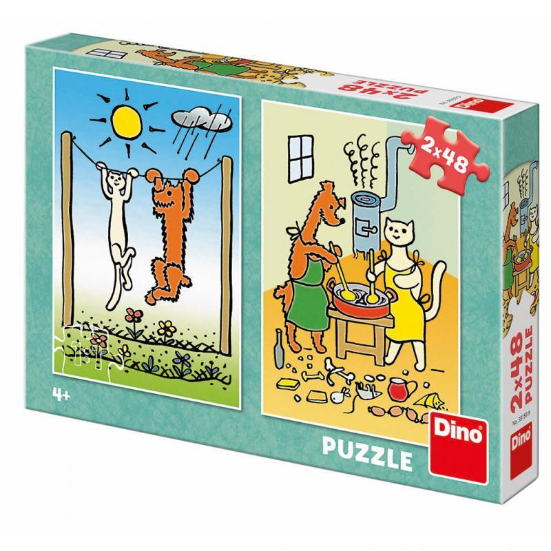 Dino puzzle Pejsek a kočička 2x48 dílků