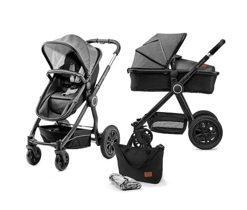 KINDERKRAFT Kombinovaný kočárek 2v1 Veo – Black/Grey