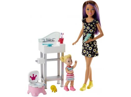 Mattel Barbie Chůva herní set s umyvadlem
