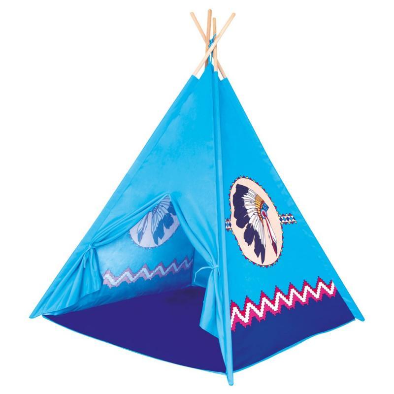 Bino TeePee, dětský stan modrý, 4 stěny