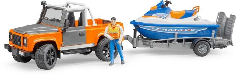 Bruder Land Rover, přepravník, vodní skůtr, figurka