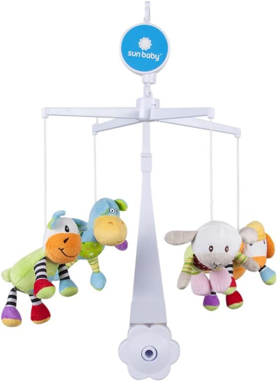 Sunbaby Kolotoč nad postýlku s plyšovými hračkami (medvídek, kočka, kuřátko, žirafka)