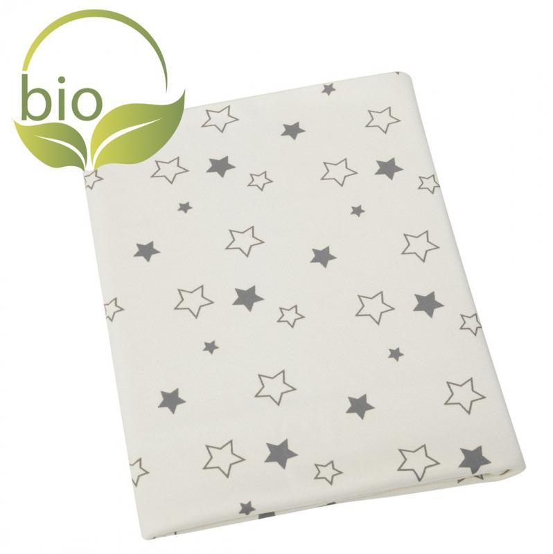 ByBoom Dětská deka 70x100 cm - BIO bavlna s motivy, Přírodní - Hvězdy Šedé
