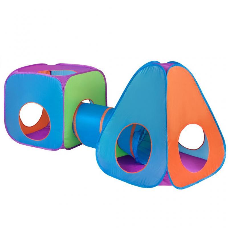 PlayTo Dětský stan 3v1 oranžovo-modrý