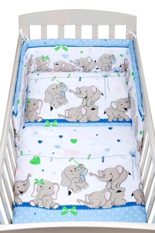 New Baby-3-dílné ložní povlečení New Baby 100/135 cm modré se sloníky