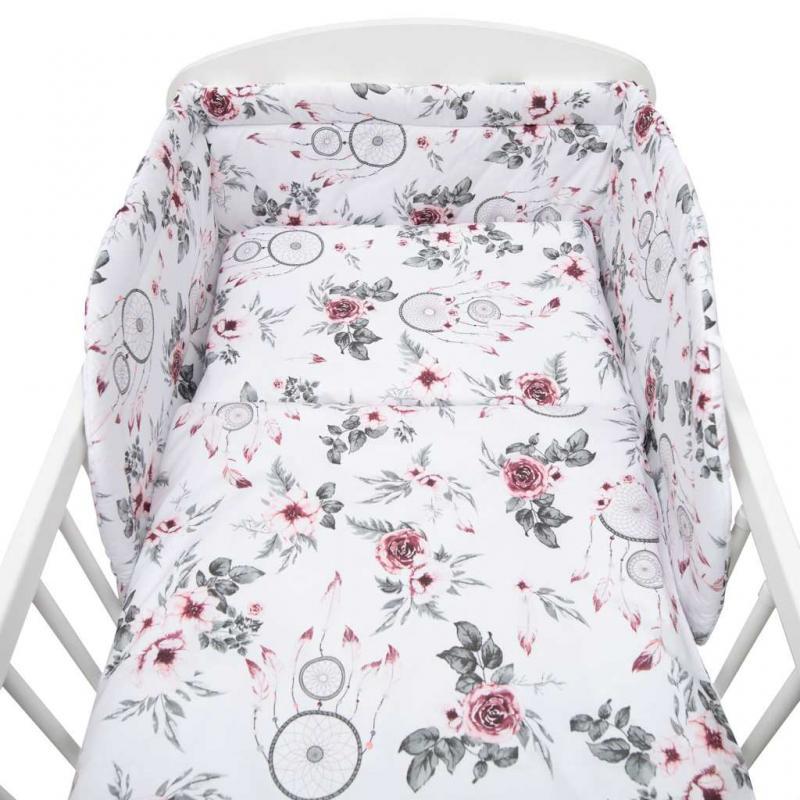 New Baby-3-dílné ložní povlečení New Baby 90/120 cm bílé květy a pírka