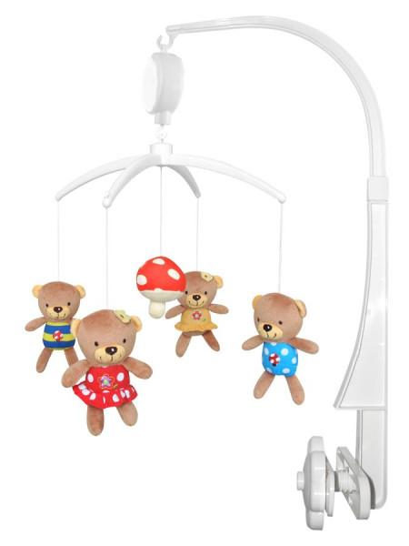 Baby Mix Plyšový kolotoč nad postýlku - Medvídci s muchomůrkou