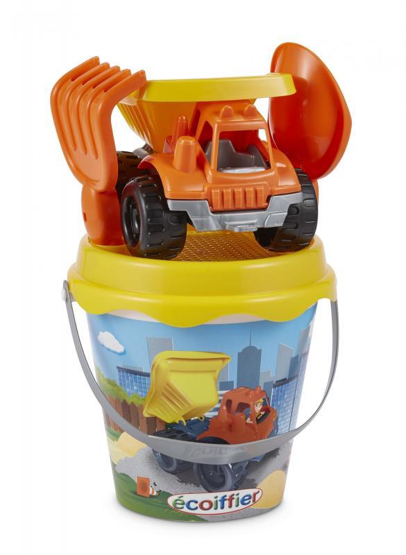 Ecoiffier Kyblíček se stavebním autem a příslušenstvím, 17 cm