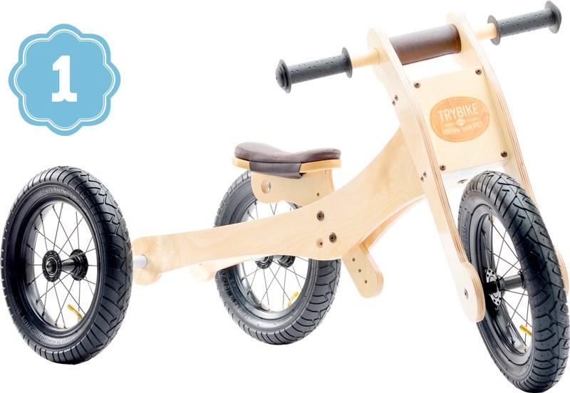 TRYBIKE dřevěné odrážedlo / tříkolka 4v1 HNĚDÁ