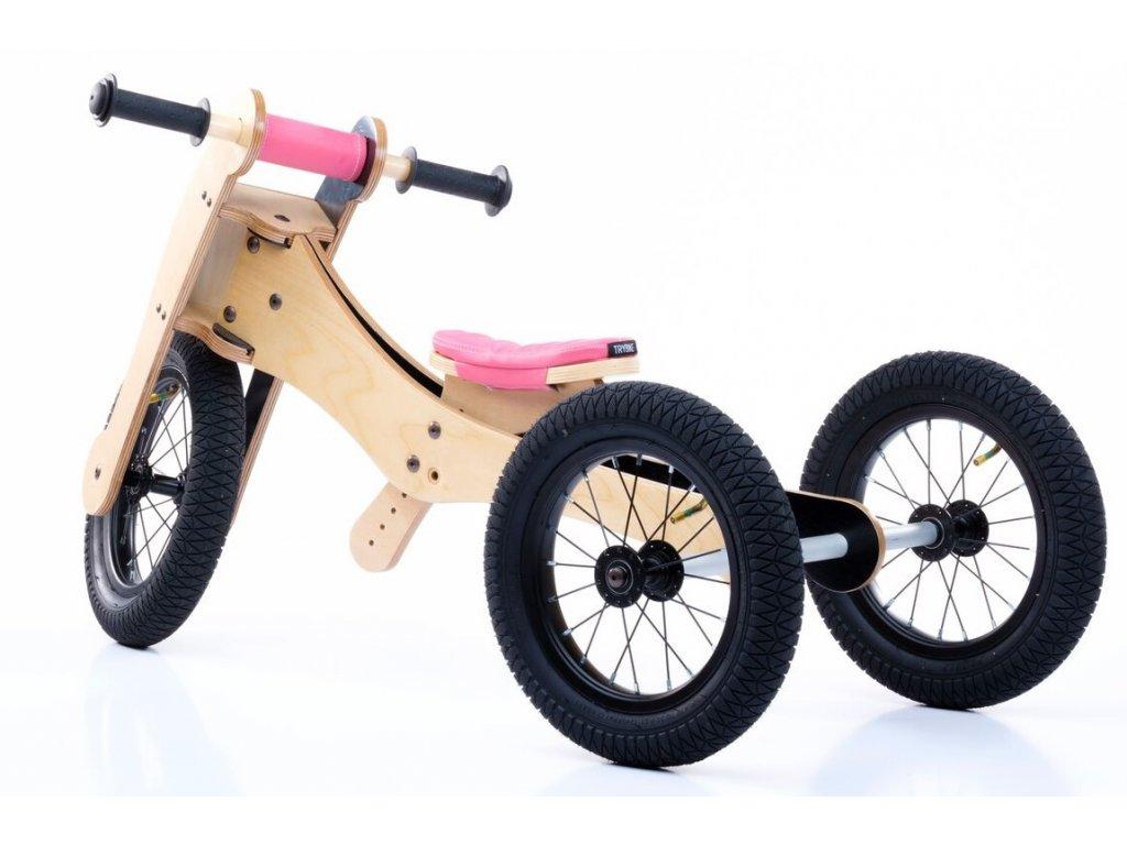 TRYBIKE dřevěné odrážedlo/tříkolka 4v1 RŮŽOVÁ