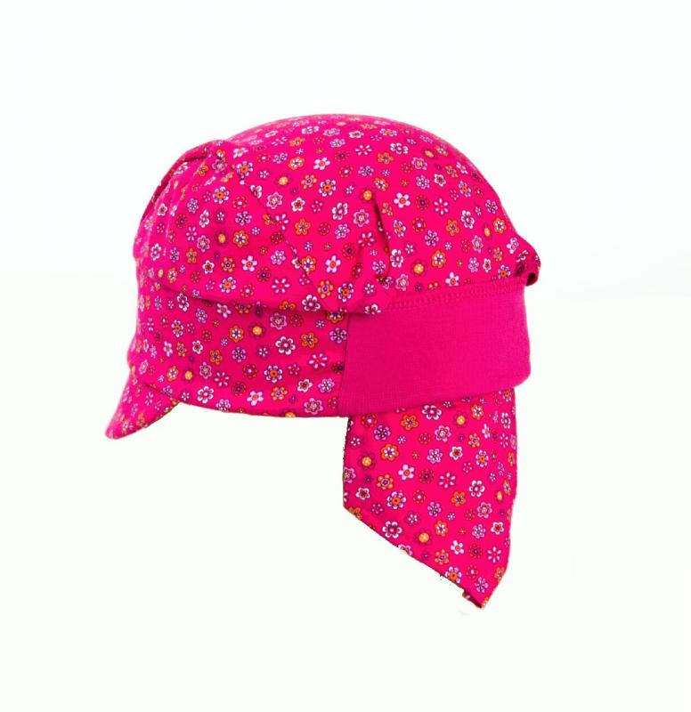 Karpet Dětský úpletový šátek s kšiltem a úpletem vzadu - růžová s květy vel.2