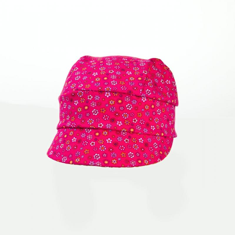 Karpet Dětský úpletový šátek s kšiltem a úpletem vzadu - růžová s květy vel.3
