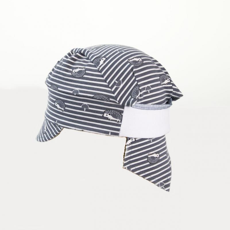 Karpet Dětský úpletový šátek s kšiltem a úpletem vzadu - šedý ježek vel.2