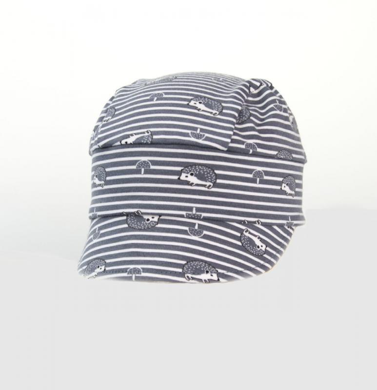 Karpet Dětský úpletový šátek s kšiltem a úpletem vzadu - šedý ježek vel.4