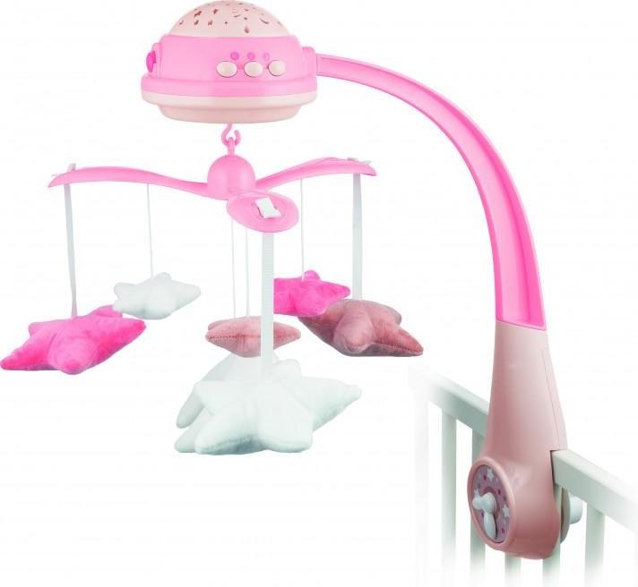 CANPOL BABIES Kolotoč plyšový s projektorem hvězdičky růžový