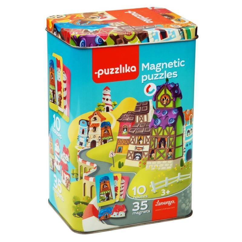 Puzzlika Magnetické domečky - magnetická hra 35 dílků a 10 předloh