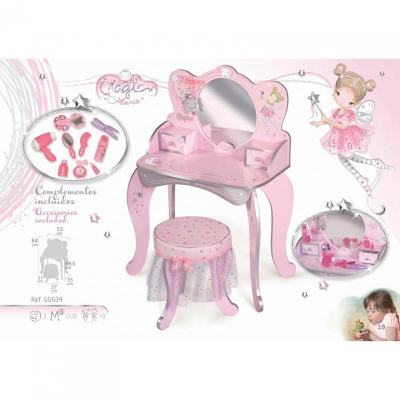 DeCuevas 55534 Dřevěný toaletní stolek se zrcadlem, dřevěnou židličkou a doplňky Magic Maria 2020