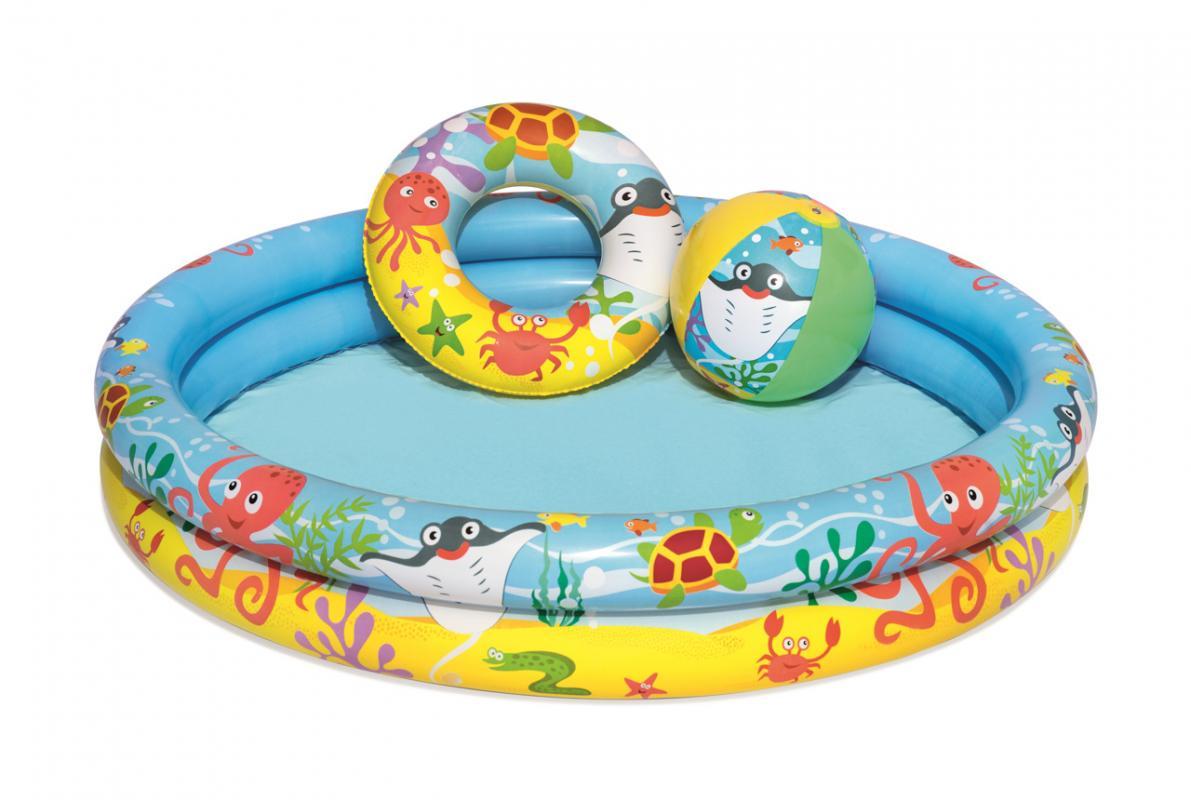 Bestway Nafukovací set - bazén, kruh a míč