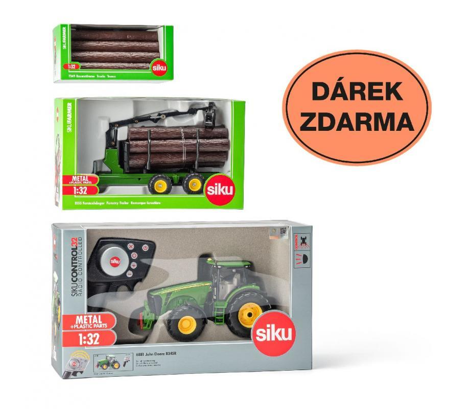SIKU Control - limitovaná edice traktor John Deere +přívěs 3155 + kmeny 7049 1:32