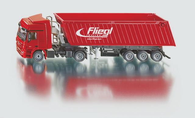 SIKU Super Kamion s vyklápěcím vlekem červený