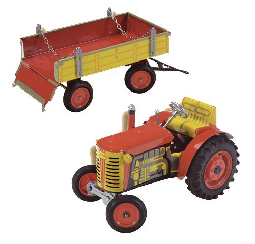 340395 Traktor Zetor s valníkem, červený, zelený, modrý plastová kola - poškozený obal