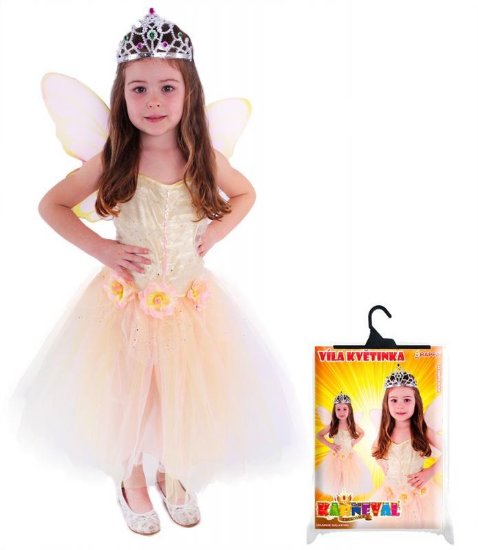 Rappa Karnevalový kostým víla květinka s křídly, vel. M