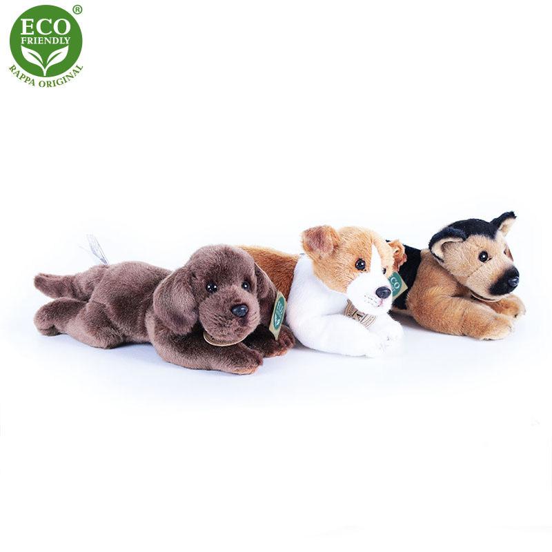 plyšový pes 3 druhy ležící se zvukem, jack russel, labrador a německý ovčák,18cm