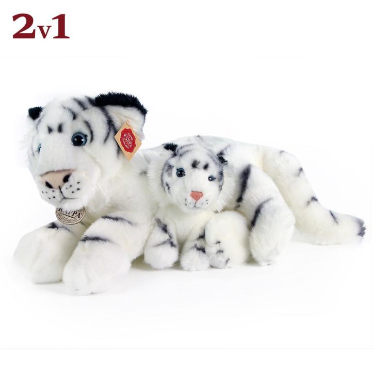 Rappa Plyšový tygr bílý s mládětem, 38 cm