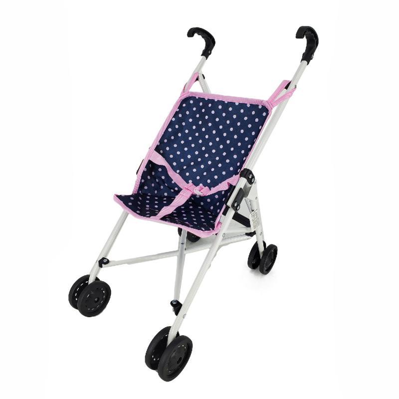Kočárek pro panenky golfové hole modro/růžový s puntíky