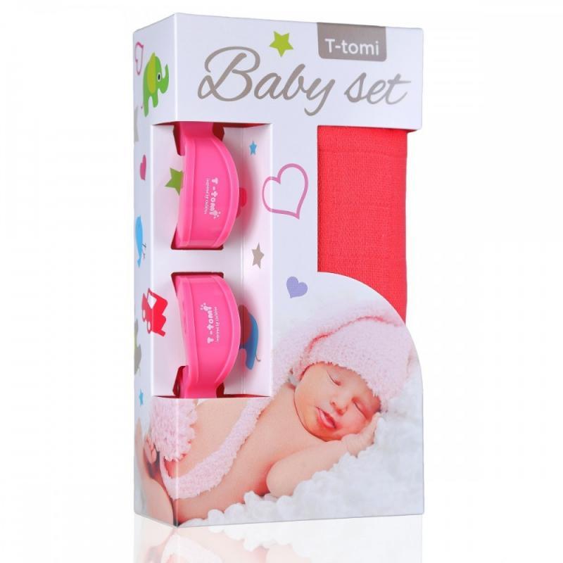 T-TOMI BIO Bambusová osuška pink / růžová + kočárkový kolíček pink / růžová