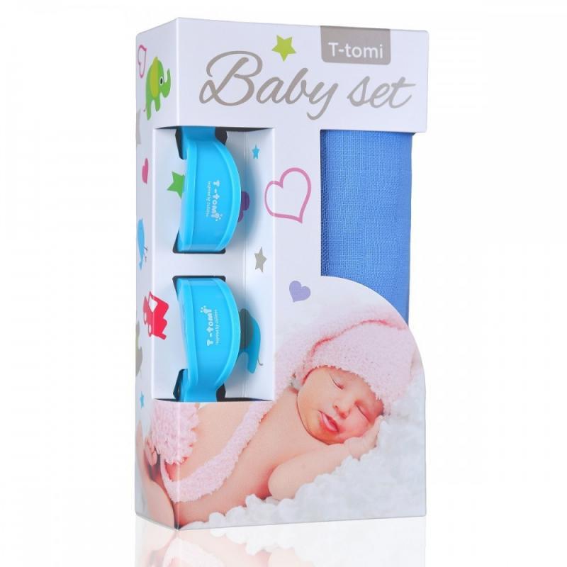 T-TOMI BIO Bambusová osuška blue / modrá + kočárkový kolíček blue / modrá