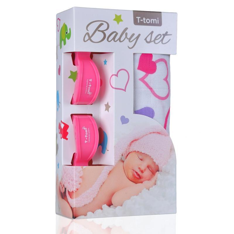 T-TOMI BIO Bambusová osuška hearts / srdíčka + kočárkový kolíček pink / růžová