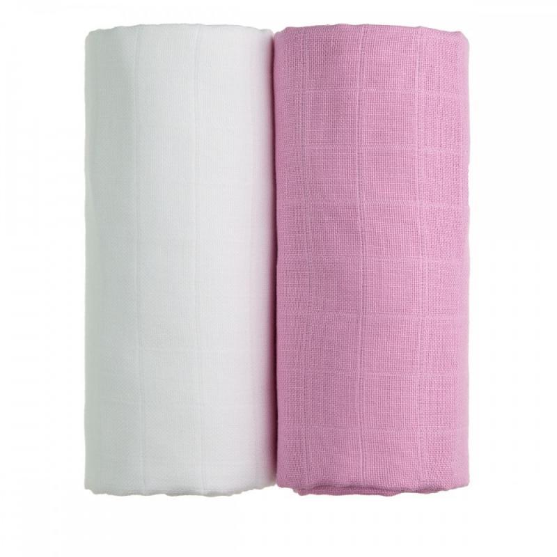 T-TOMI Látkové TETRA osušky, white + pink / bílá + růžová