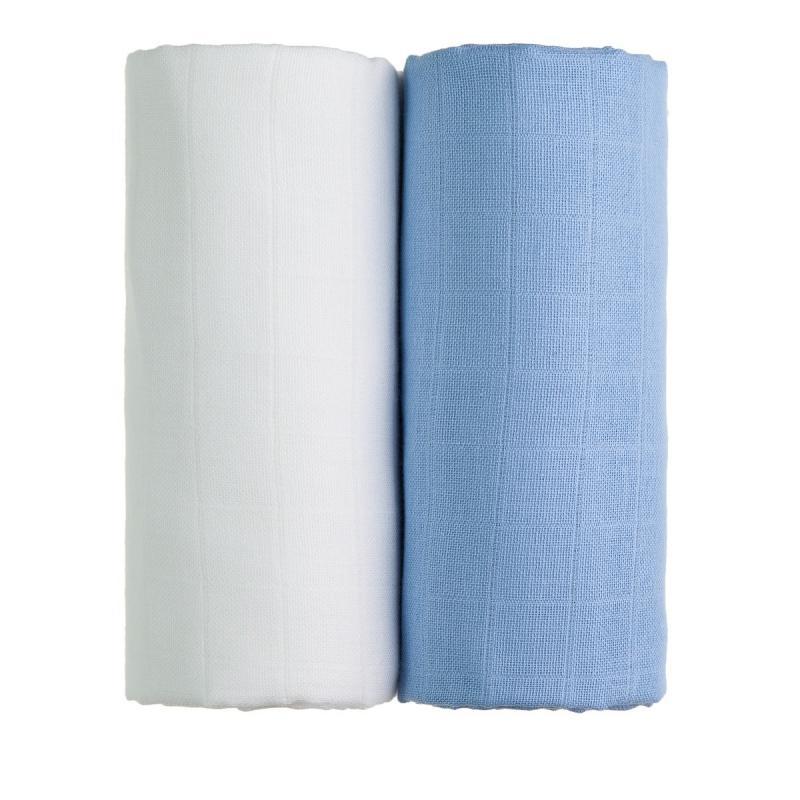 T-TOMI Látkové TETRA osušky, white + blue / bílá + modrá