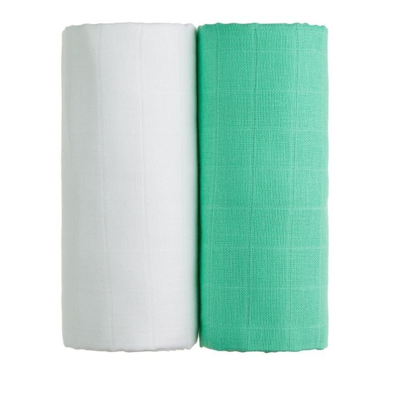 T-TOMI Látkové TETRA osušky, white + green / bílá + zelená