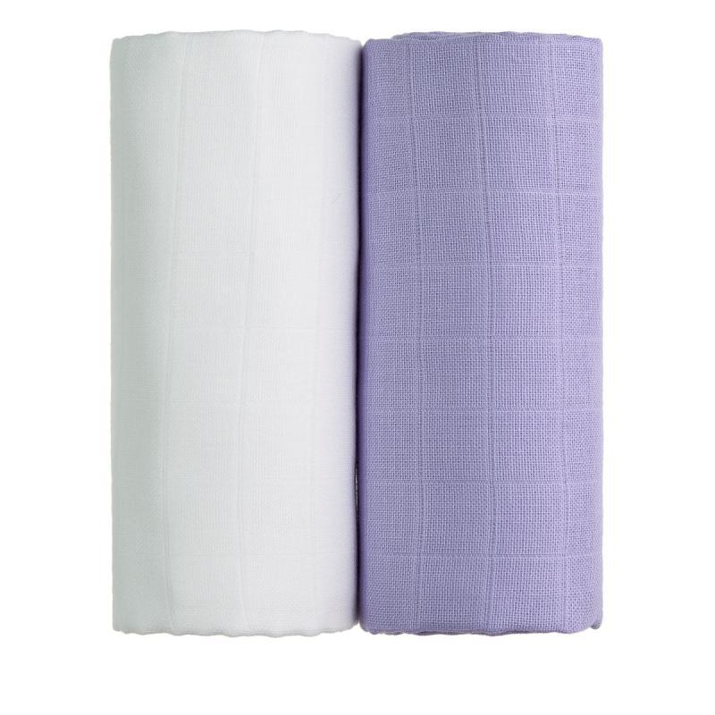 T-TOMI Látkové TETRA osušky, white + lilac / bílá + fialová