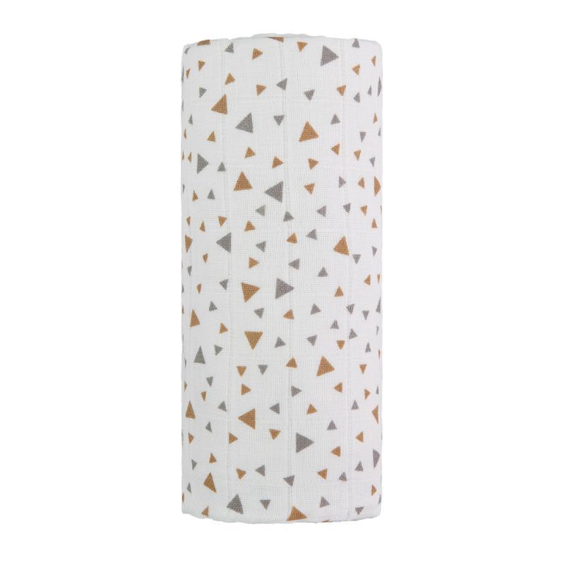 T-TOMI Velká bavlněná TETRA osuška, beige triangles / béžové trojúhelníky