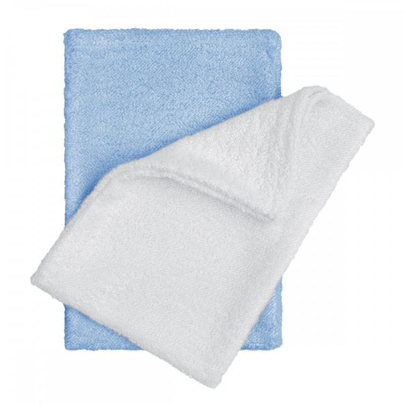 T-TOMI Bambusové žínky - rukavice, white+blue / bílá + modrá