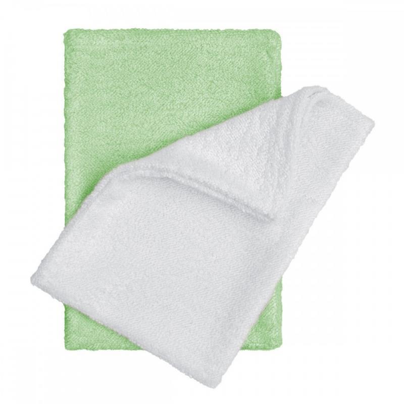 T-TOMI Bambusové žínky - rukavice, white+green / bílá + zelená
