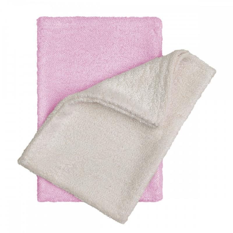 T-TOMI Bambusové žínky - rukavice, natur+pink / natur + růžová