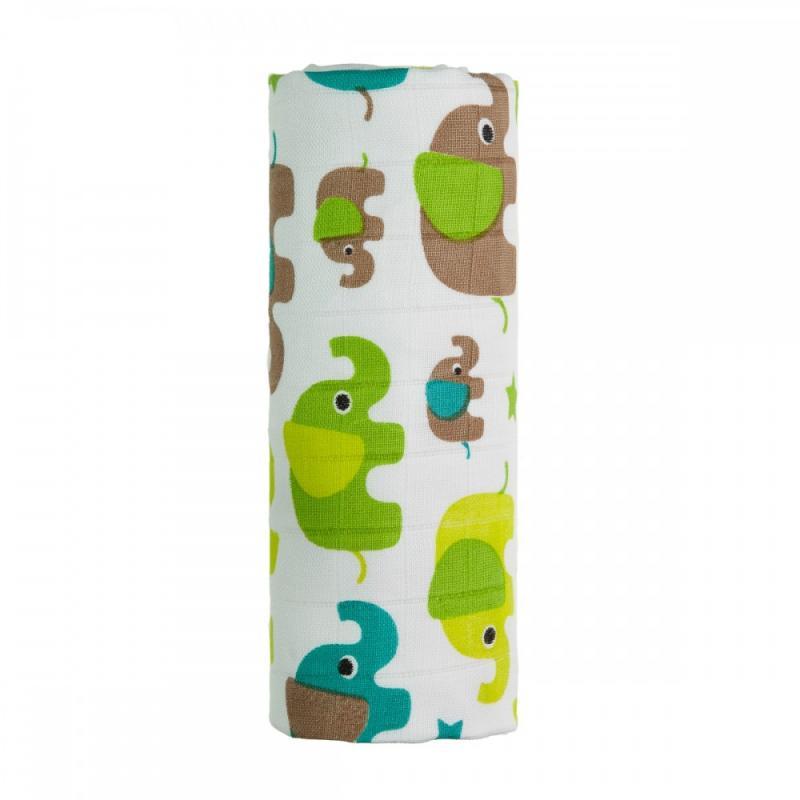 T-TOMI BIO Velká bambusová osuška, green elephants / zelení sloni