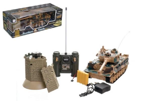 Teddies tank RC Tiger + bunkr na baterie + dobíjecí pack