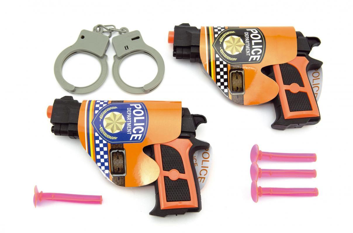 Teddies Pistole 2ks s přísavkami + doplňky plast 15cm v sáčku