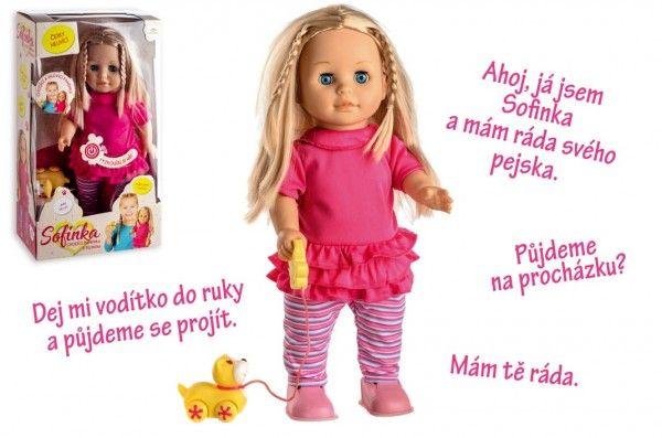 Teddies chodící panenka Sofinka s pejskem, česky mluvící