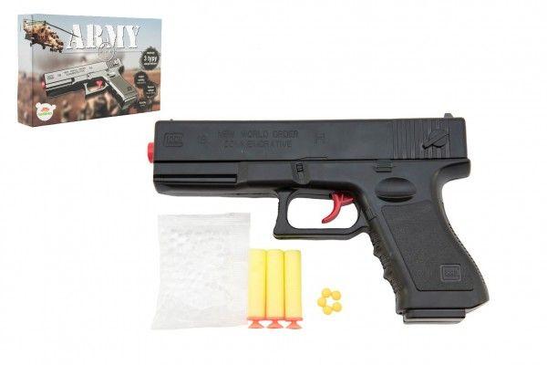 TEDDIES Pistole na kuličky 20cm plast + 3 druhy nábojů