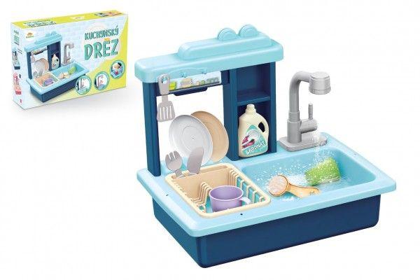 Dřez na mytí nádobí modrý + kohoutek na vodu na baterie s doplňky