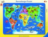 Ravensburger puzzle Mapa světa se zvířaty 30-48 dílků
