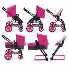 Set Icoo 6v1 - kočárek, autosedačka - růžový